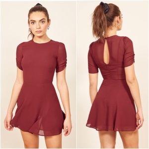 Reformation Gracie Mini Dress in Garnet Size 4 NWT